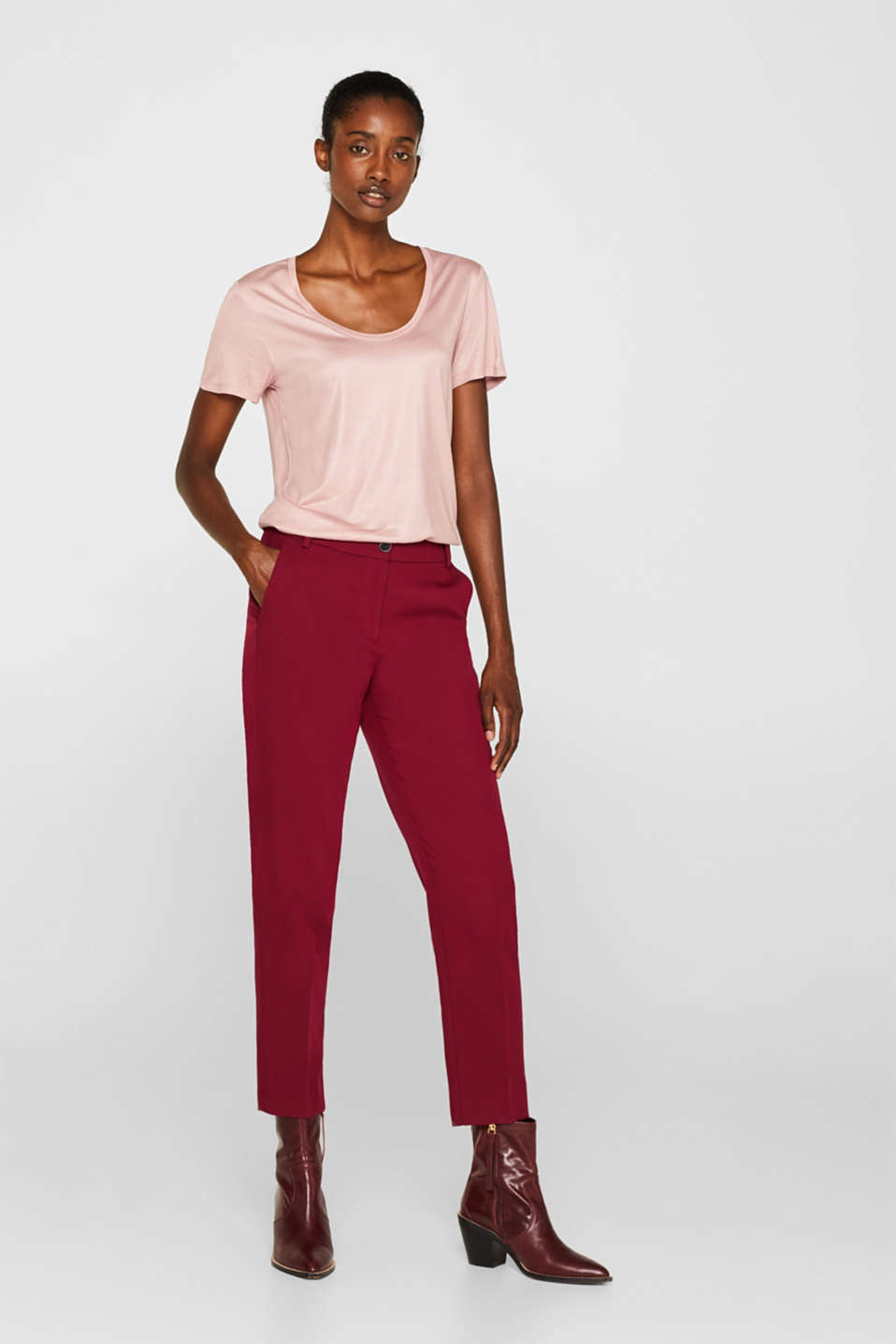 Esprit - STITCHING Mix + Match Stretch-Pants mit Ziernähten