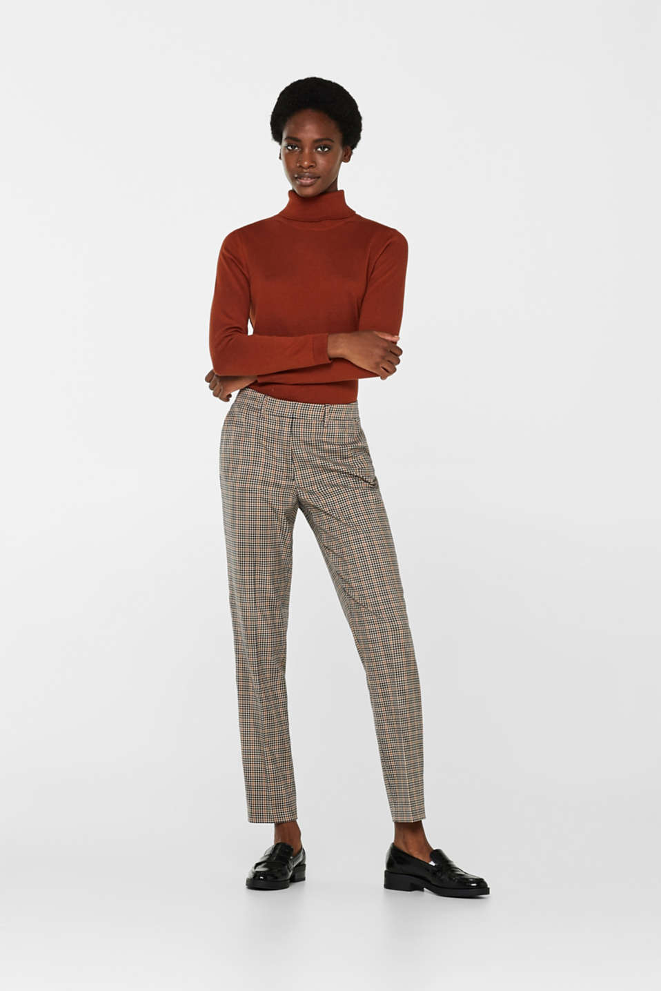 Esprit - Stretch trousers with a small check