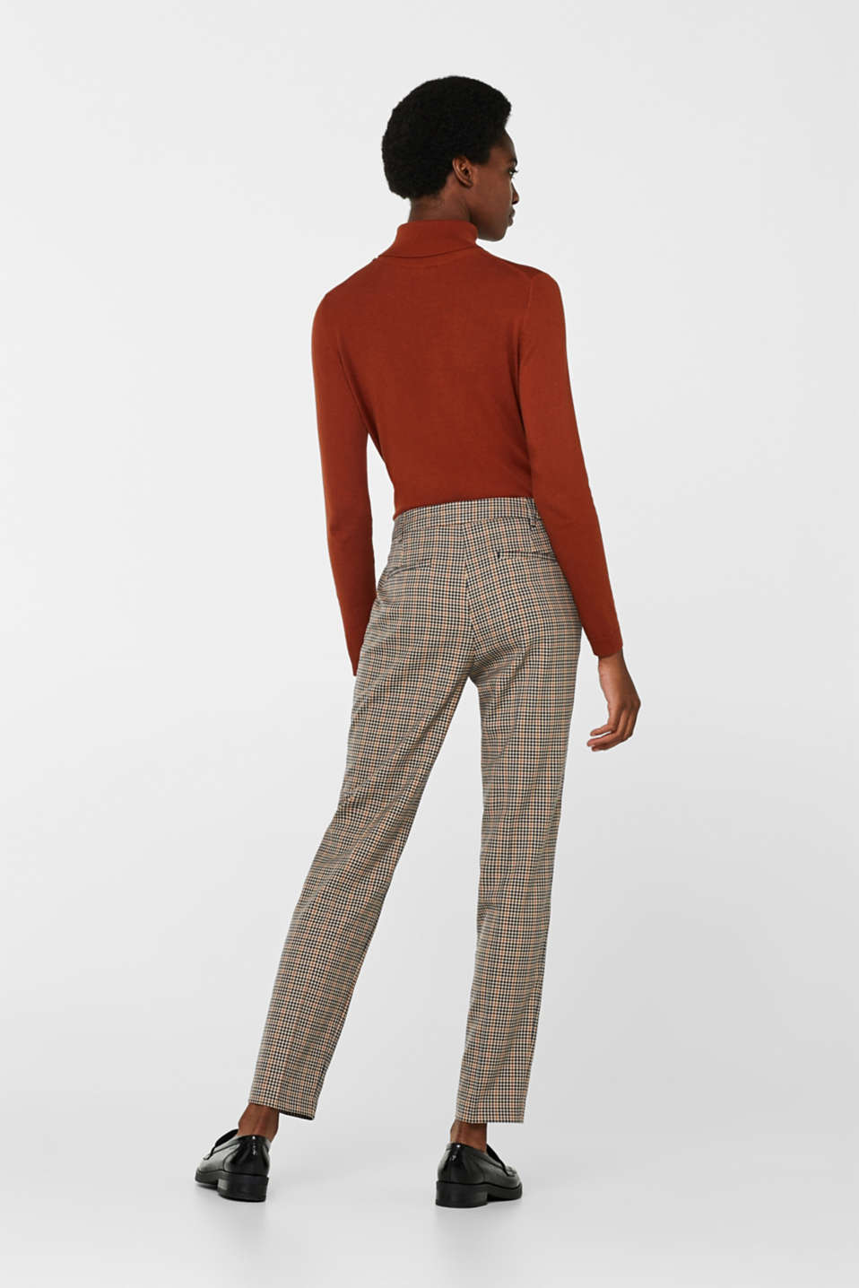 Stretch trousers with a small check, CAMEL, detail image number 3