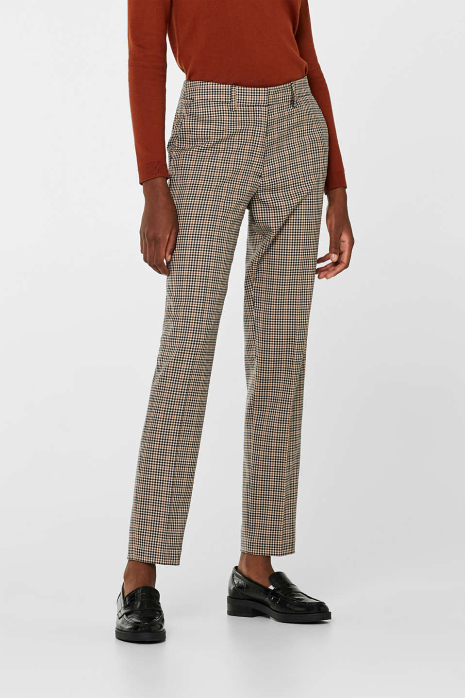 Stretch trousers with a small check, CAMEL, detail image number 6