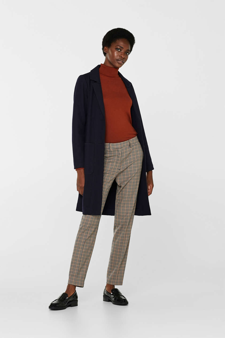 Stretch trousers with a small check, CAMEL, detail image number 1