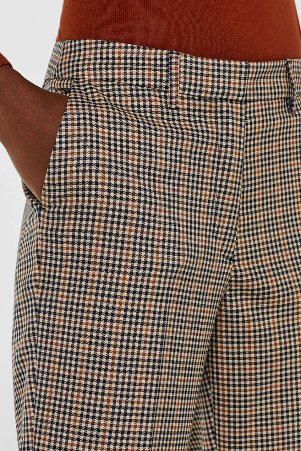 Stretch trousers with a small check, CAMEL, detail image number 2
