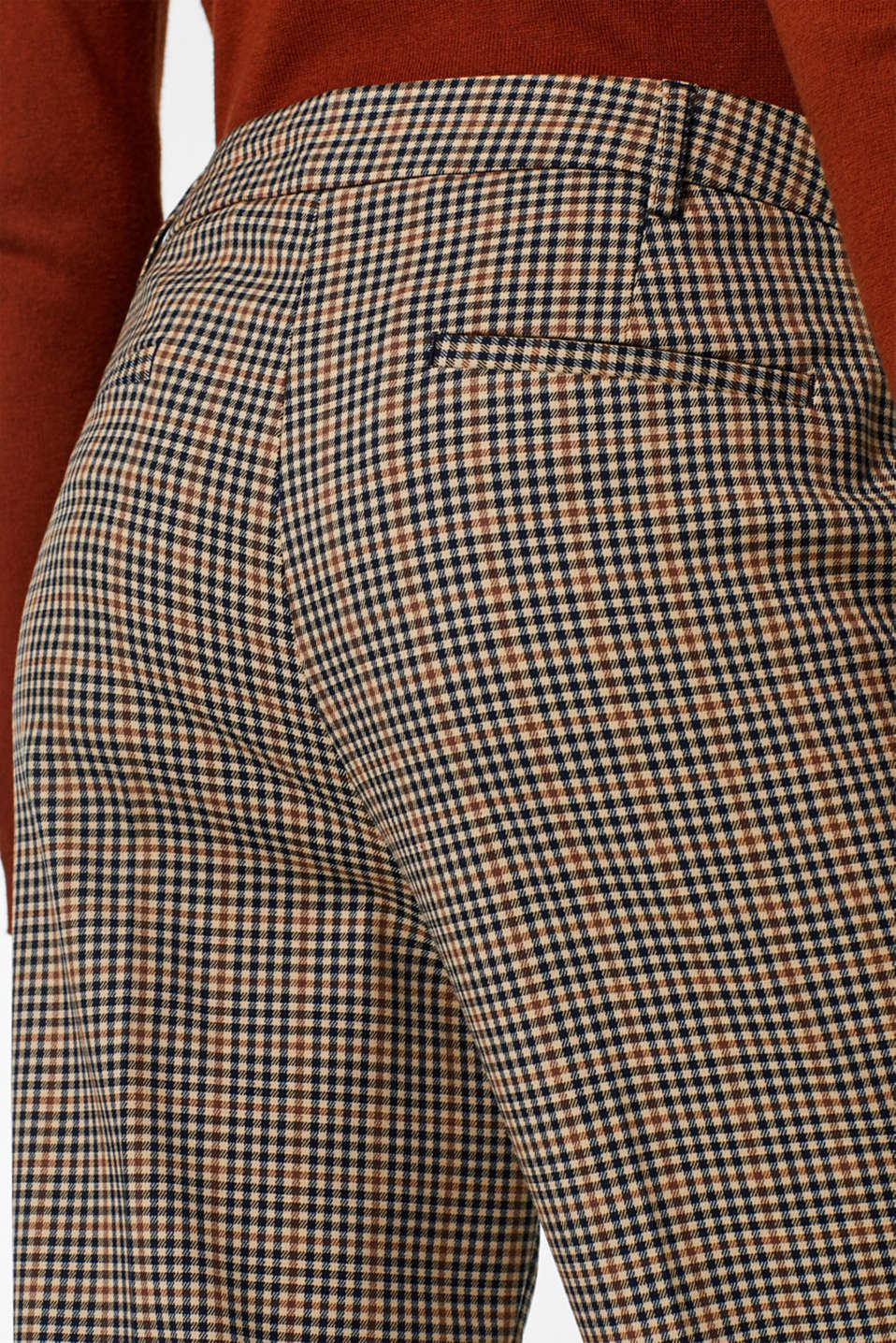 Stretch trousers with a small check, CAMEL, detail image number 5