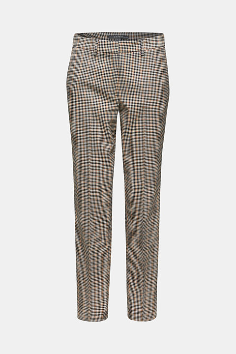 Stretch trousers with a small check