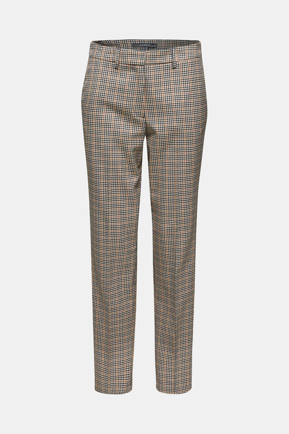 Stretch trousers with a small check, CAMEL, detail image number 7