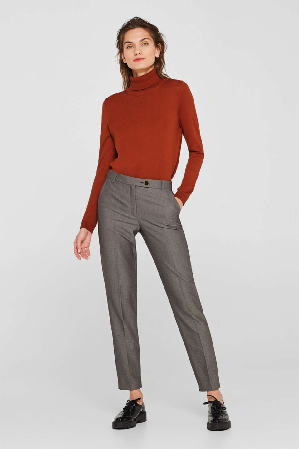 Esprit - Trousers with a two-tone texture