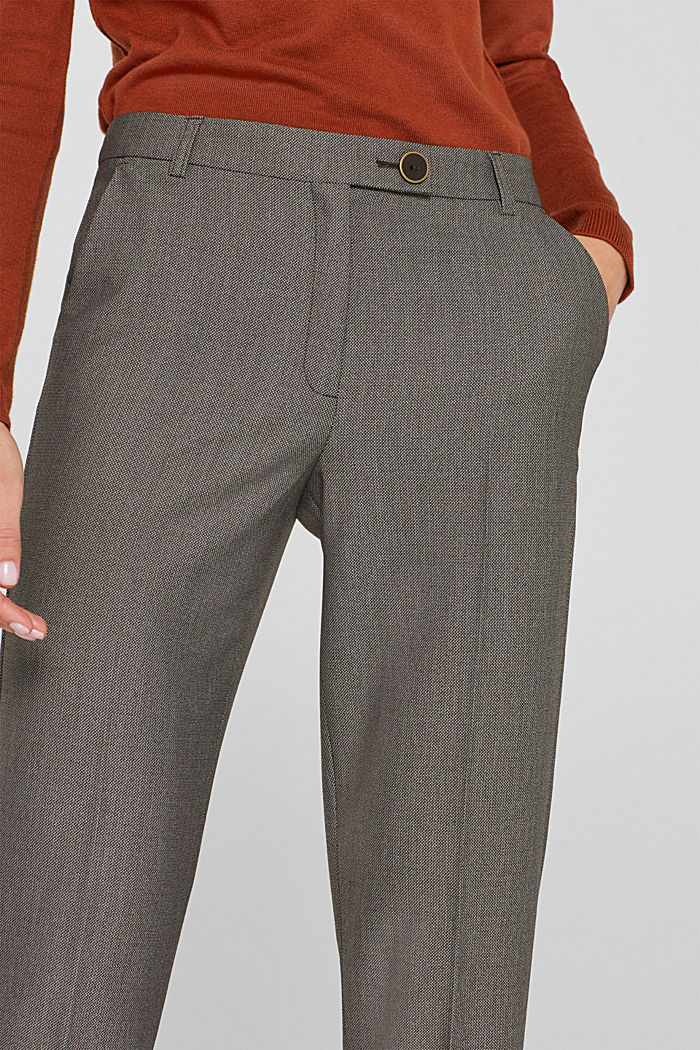 Trousers with a two-tone texture, DARK BROWN, detail image number 2