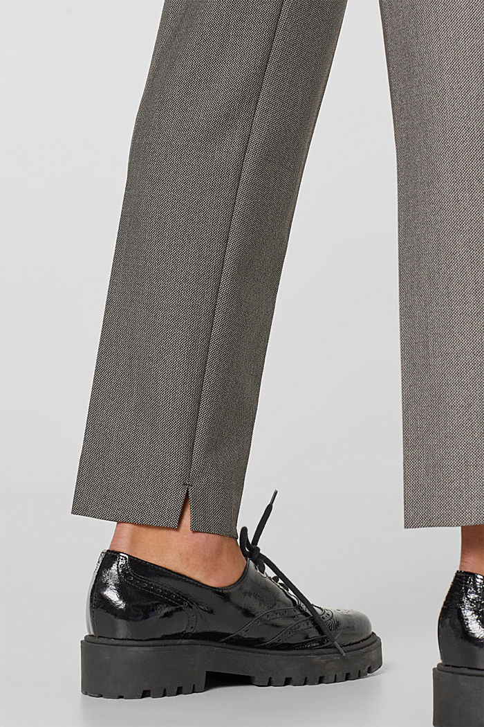 Trousers with a two-tone texture, DARK BROWN, detail image number 5