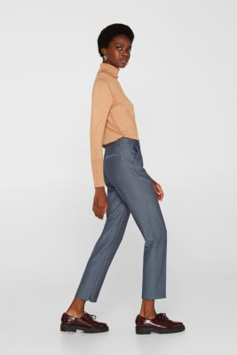 Trousers with a two-tone texture, NAVY, detail