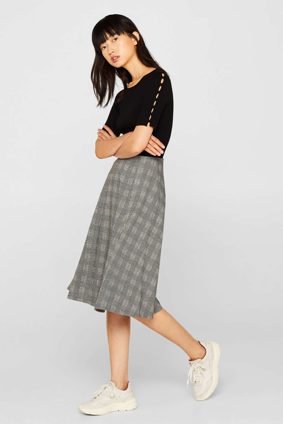 Esprit - Midi skirt with a Prince of Wales check