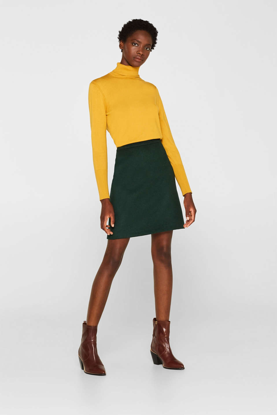 Esprit - With wool: Skirt made of worsted yarn