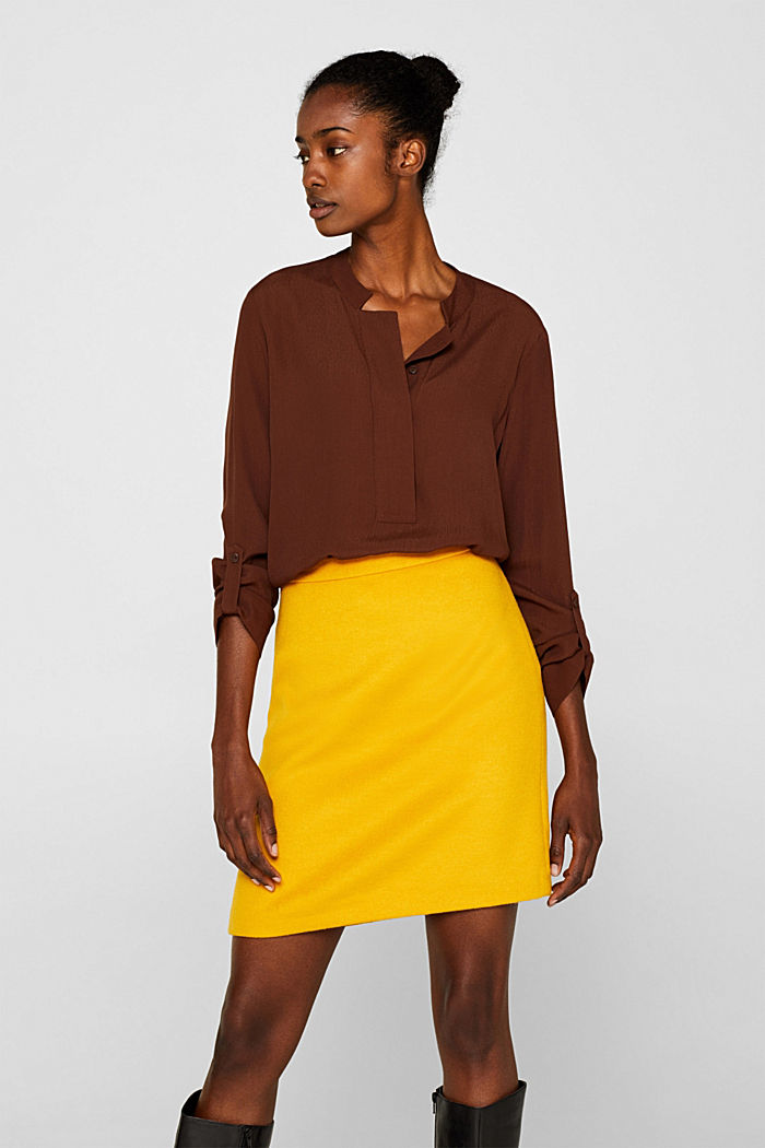 Wool blend twill skirt, AMBER YELLOW, detail image number 0
