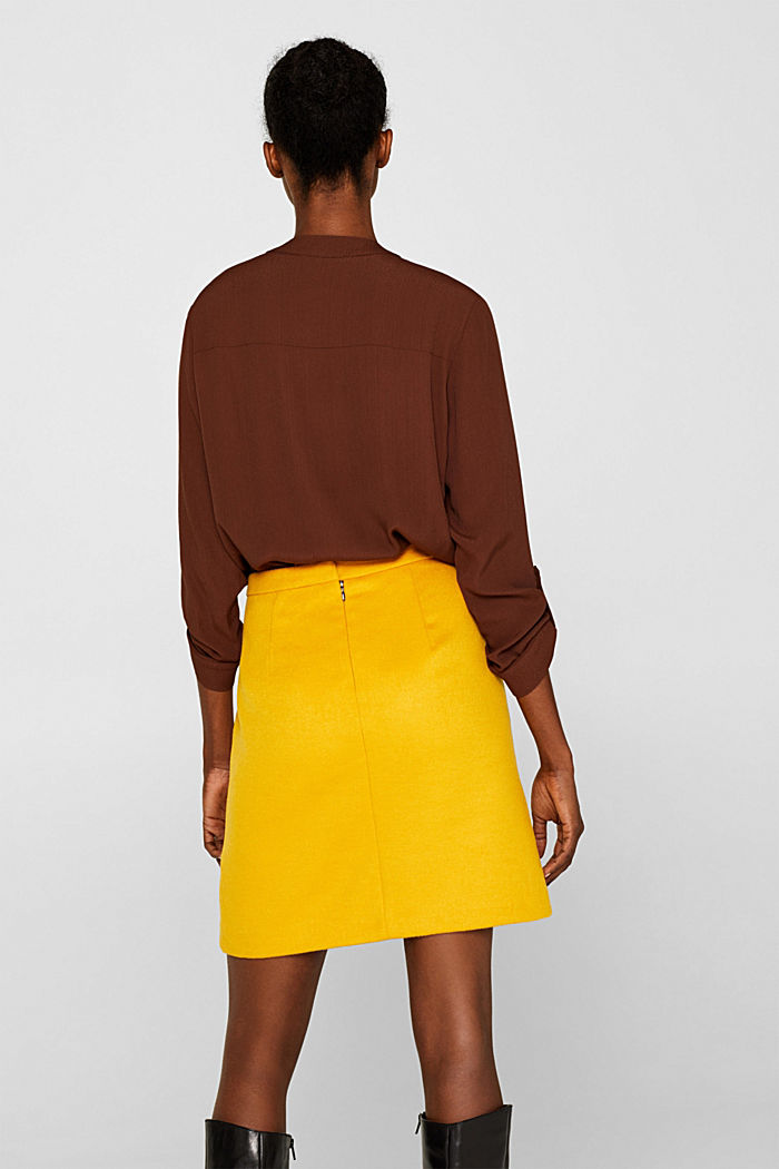 Wool blend twill skirt, AMBER YELLOW, detail image number 3