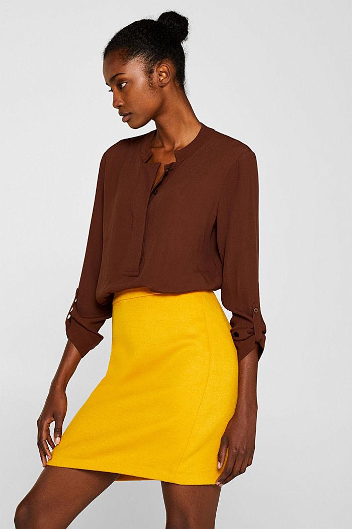 Wool blend twill skirt