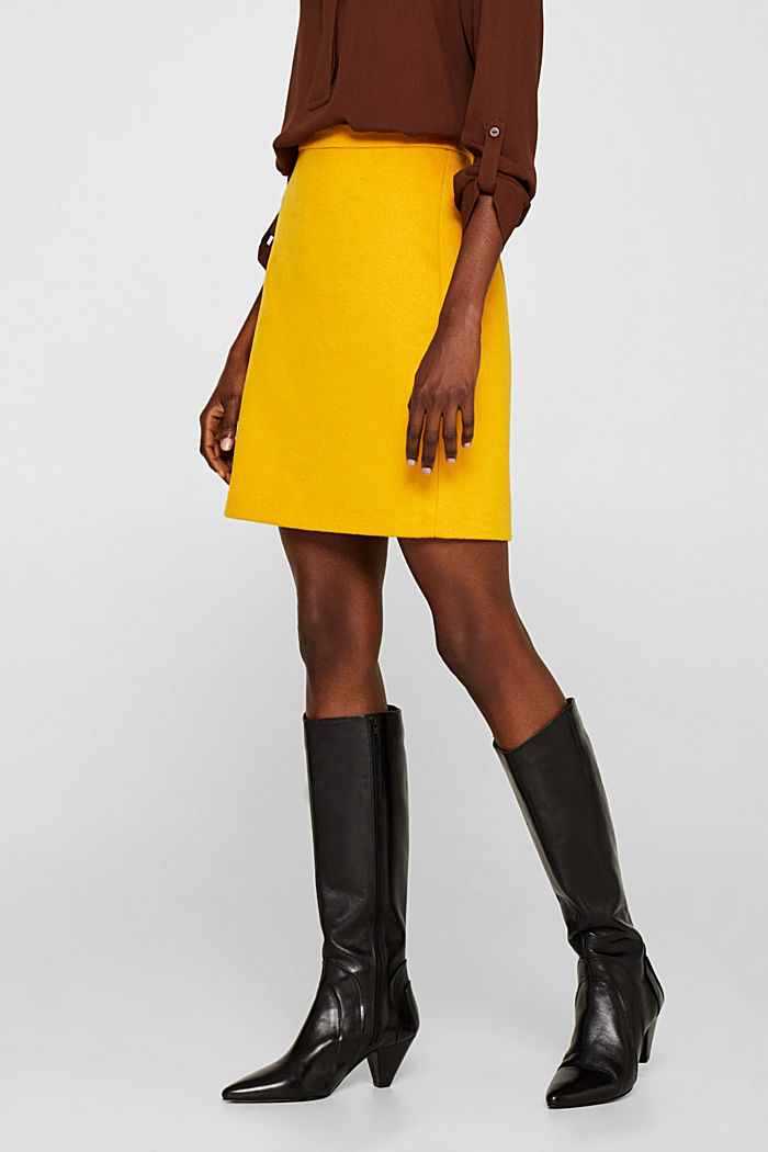 Wool blend twill skirt, AMBER YELLOW, detail image number 6