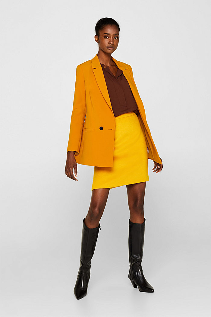 Wool blend twill skirt, AMBER YELLOW, detail image number 1