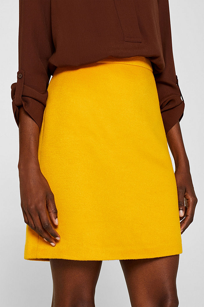 Wool blend twill skirt, AMBER YELLOW, detail image number 2