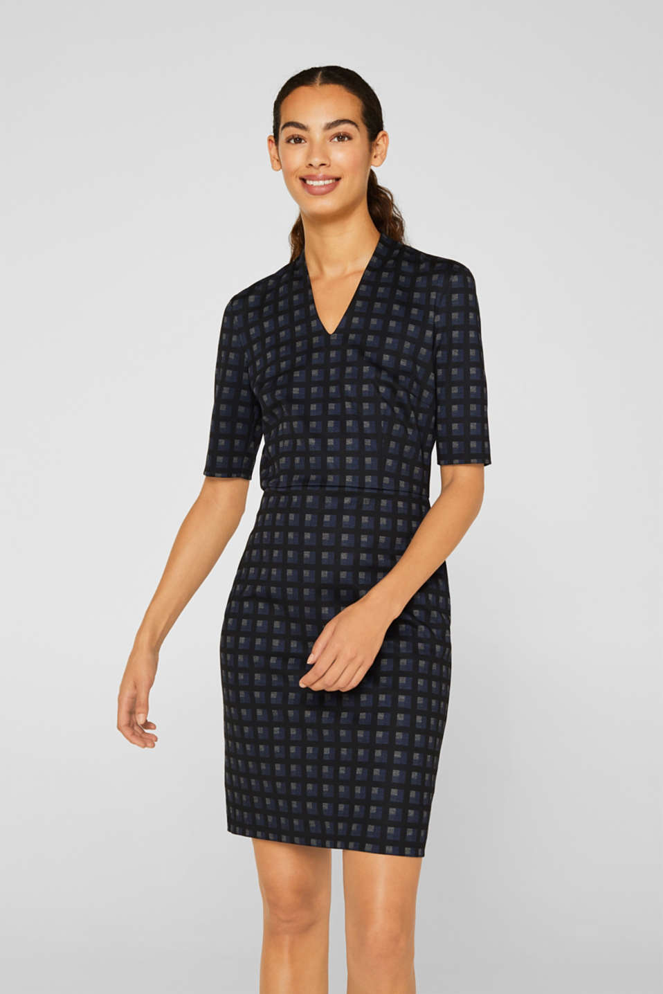 Sheath dress made of stretch jersey, NAVY, detail image number 0