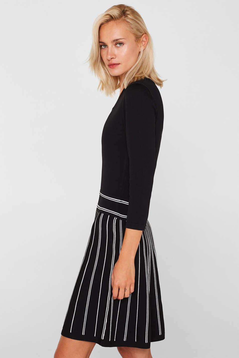 Flared knit dress, BLACK 2, detail image number 4