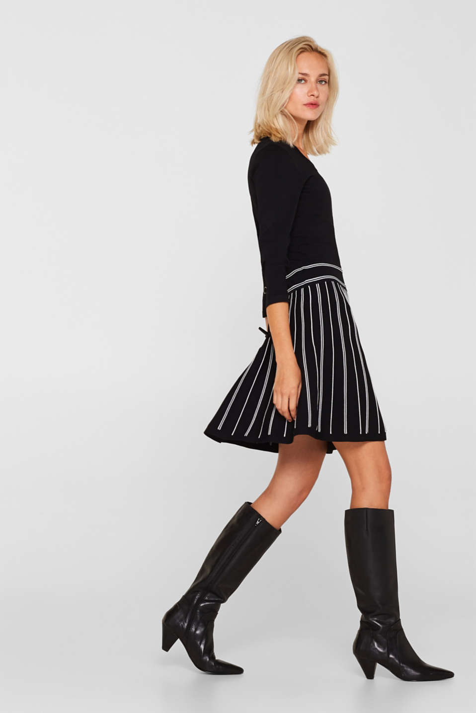 Flared knit dress, BLACK 2, detail image number 6