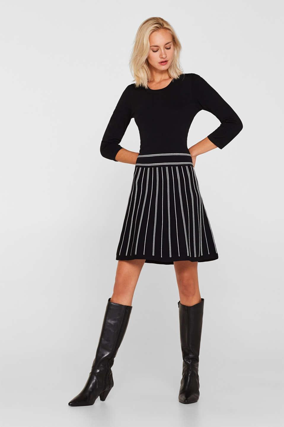 Flared knit dress, BLACK 2, detail image number 1