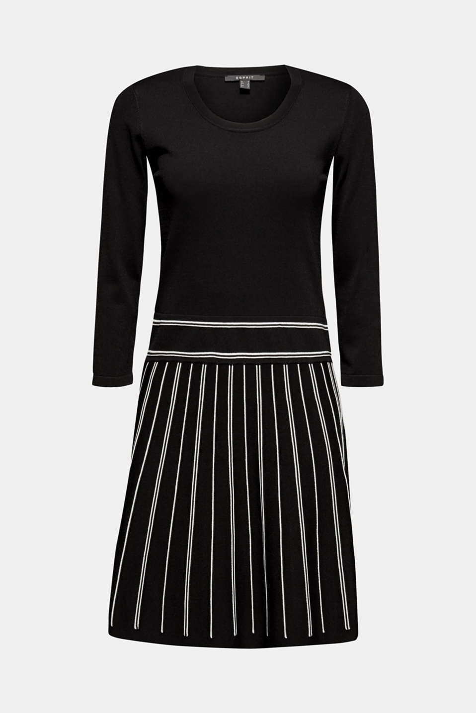 Flared knit dress, BLACK 2, detail image number 7