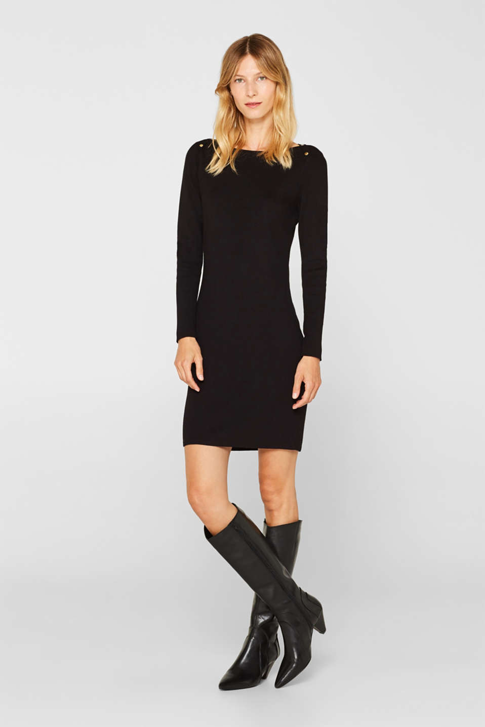 Fine-knit sheath dress, BLACK, detail image number 0