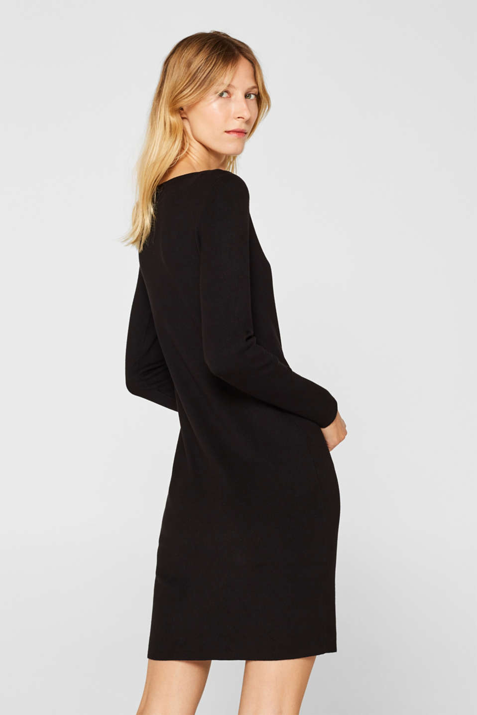 Fine-knit sheath dress, BLACK, detail image number 2