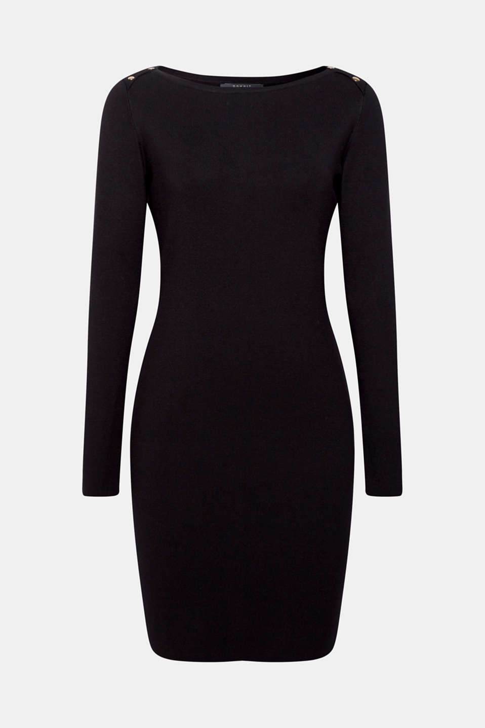Fine-knit sheath dress, BLACK, detail image number 5