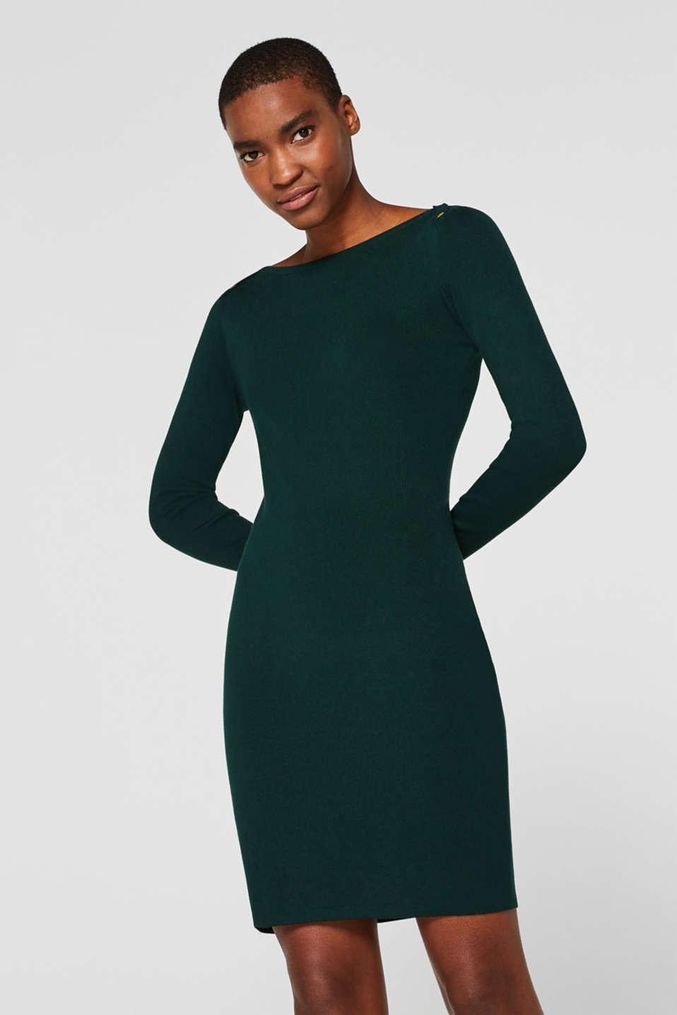 Fine-knit sheath dress, BOTTLE GREEN, detail image number 0