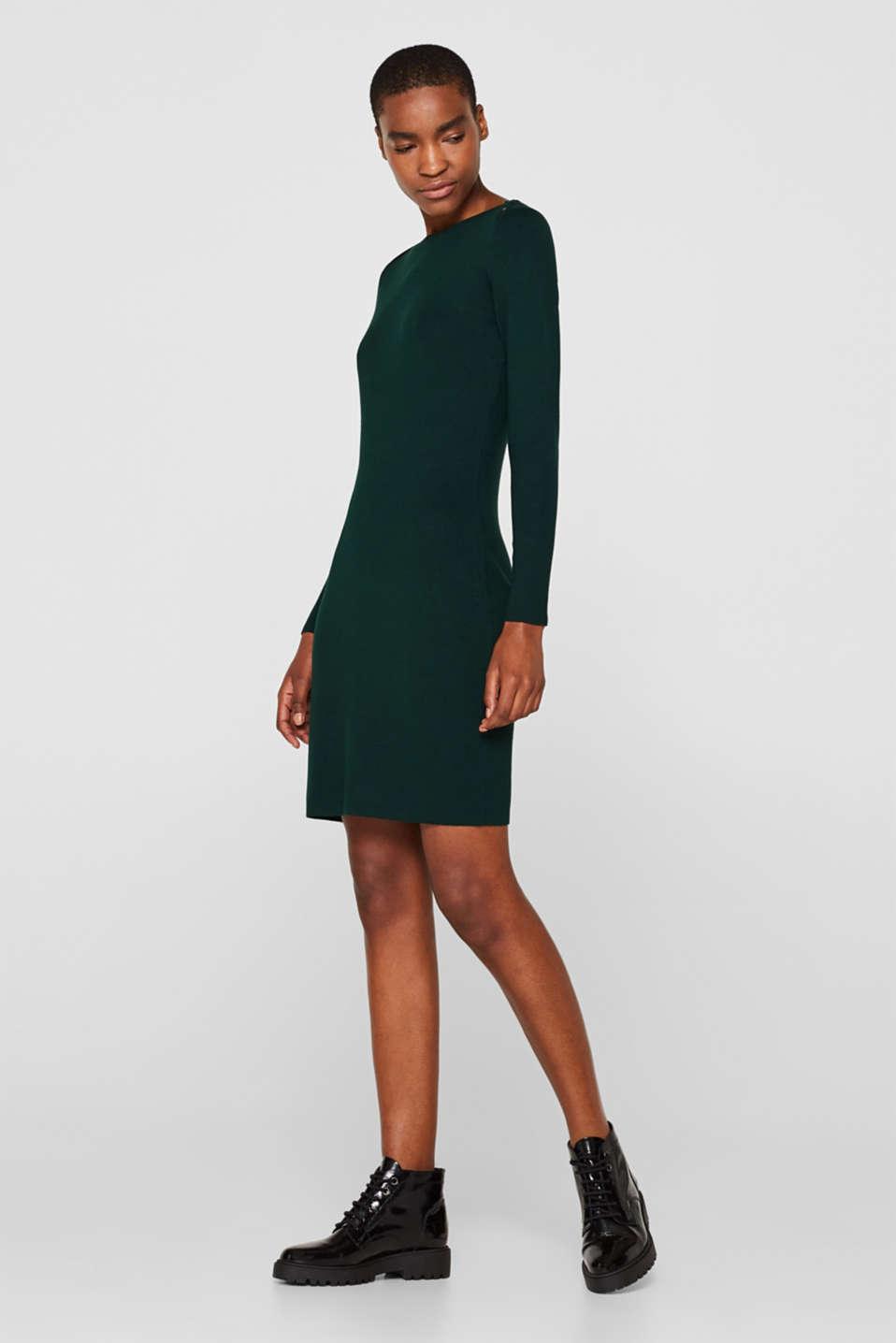 Fine-knit sheath dress, BOTTLE GREEN, detail image number 1
