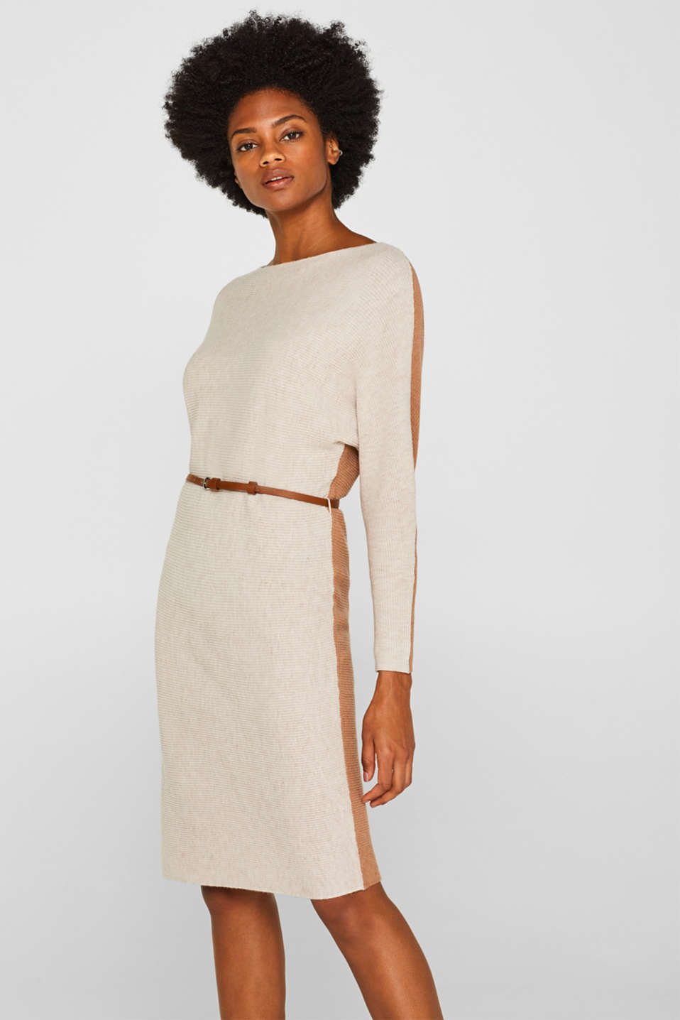 Esprit - Knit dress with a belt and a ribbed texture