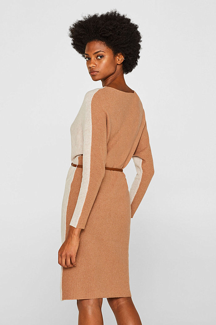 Knit dress with a belt and a ribbed texture, CARAMEL, detail image number 2