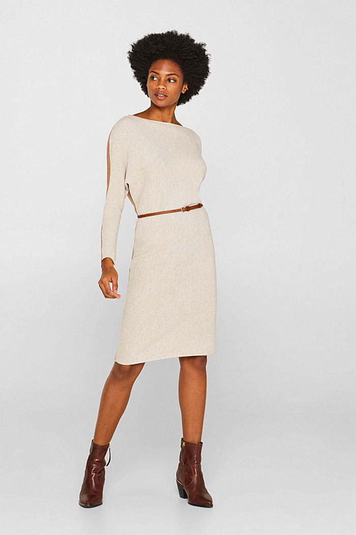 Knit dress with a belt and a ribbed texture, CARAMEL, detail image number 1