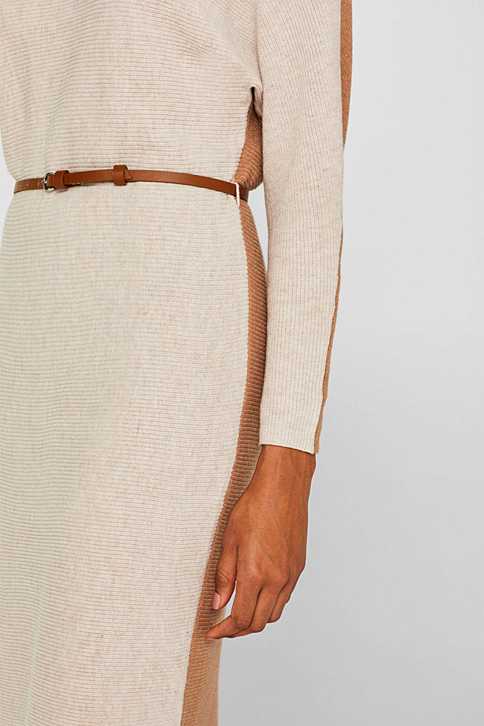 Knit dress with a belt and a ribbed texture, CARAMEL, detail image number 3