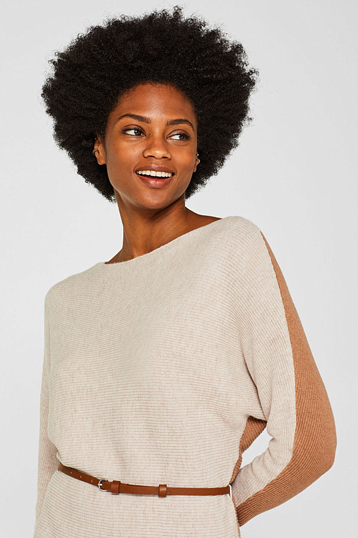 Knit dress with a belt and a ribbed texture, CARAMEL, detail image number 5
