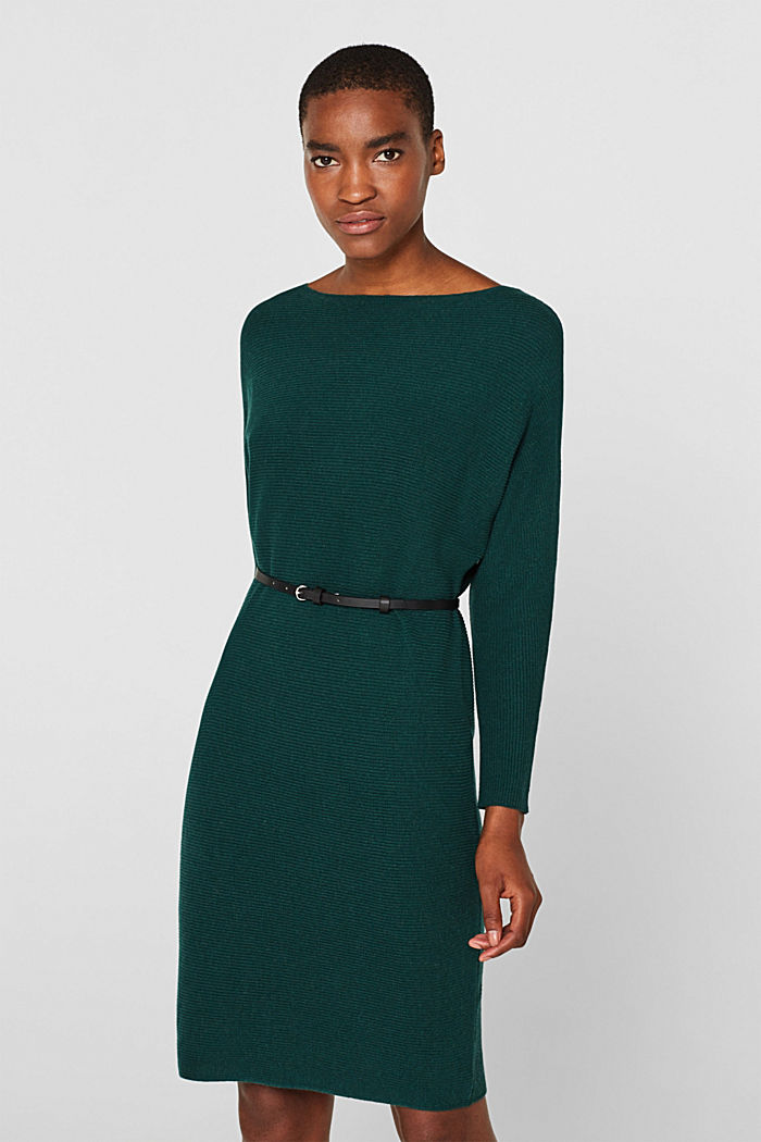 Knit dress with a belt and a ribbed texture, BOTTLE GREEN, detail image number 0