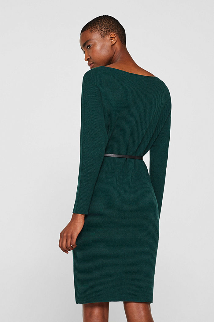 Knit dress with a belt and a ribbed texture, BOTTLE GREEN, detail image number 2
