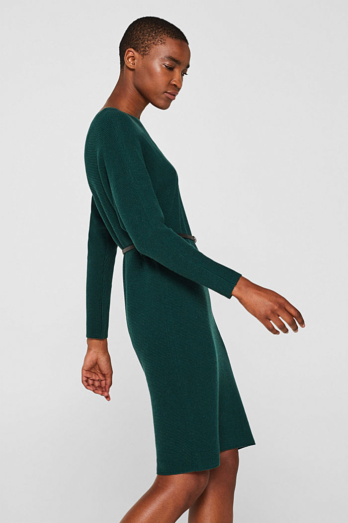 Knit dress with a belt and a ribbed texture, BOTTLE GREEN, detail image number 4