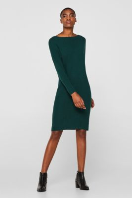 Knit dress with a belt and a ribbed texture, BOTTLE GREEN 5, detail