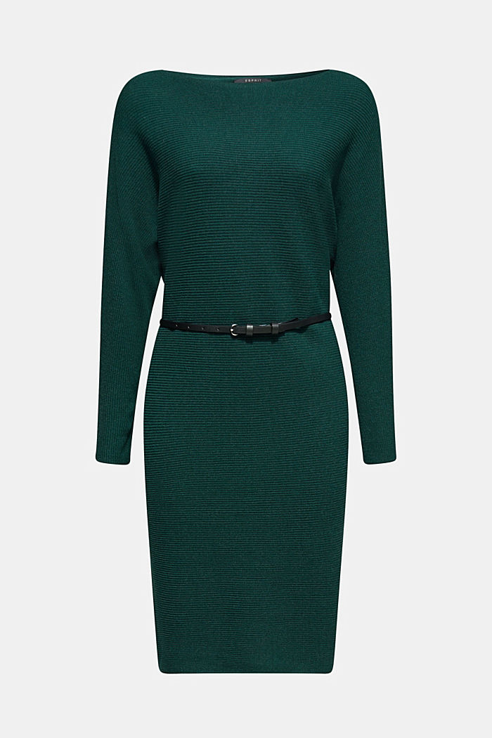 Knit dress with a belt and a ribbed texture, BOTTLE GREEN, detail image number 7