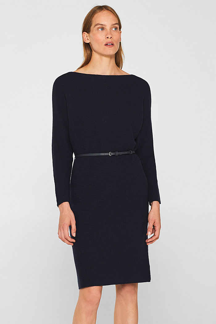 Knit dress with a belt and a ribbed texture, NAVY, detail image number 0
