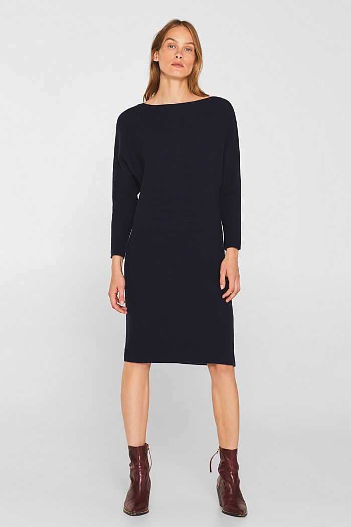 Knit dress with a belt and a ribbed texture, NAVY, detail image number 4