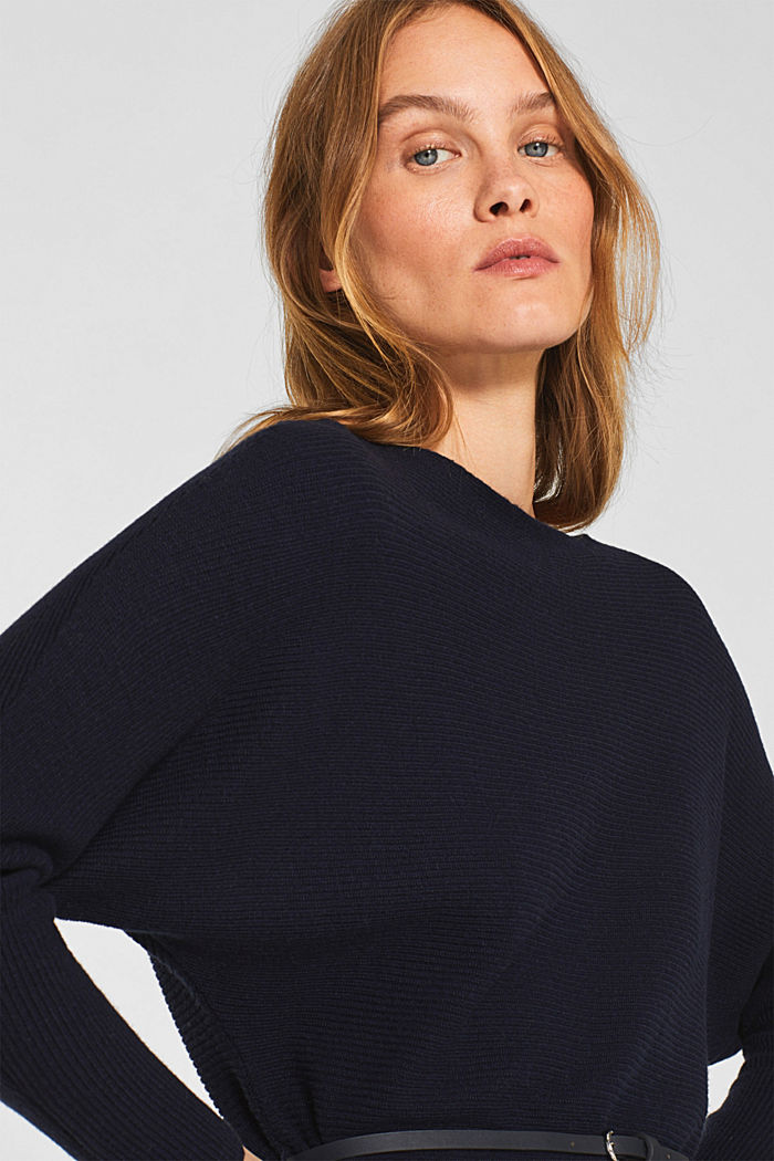 Knit dress with a belt and a ribbed texture, NAVY, detail image number 3