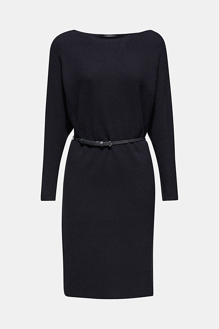 Knit dress with a belt and a ribbed texture, NAVY, detail image number 5