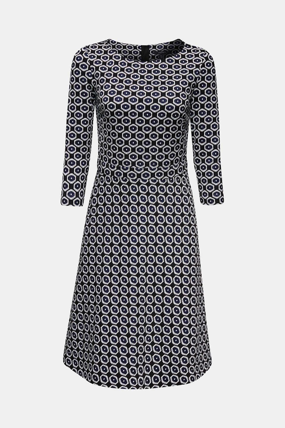 Stretch jersey jacquard dress, BLACK, detail image number 8