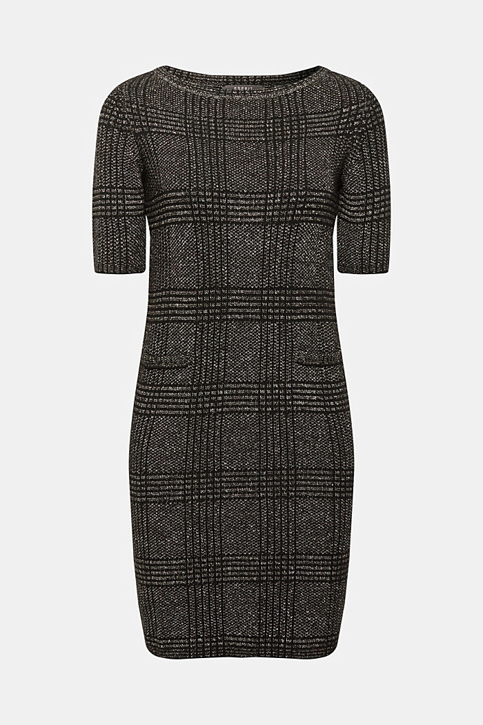 Melange sheath knit dress, BLACK, detail image number 0