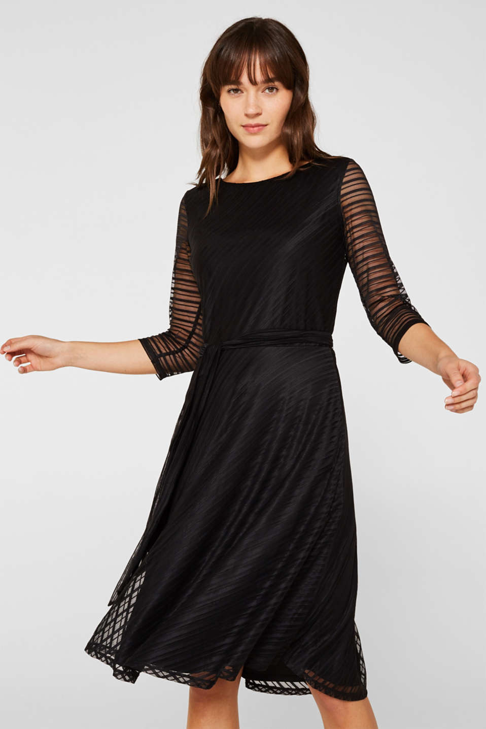 Flared mesh dress with stripes, BLACK, detail image number 0