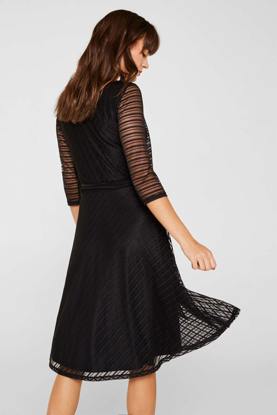 Flared mesh dress with stripes, BLACK, detail image number 3