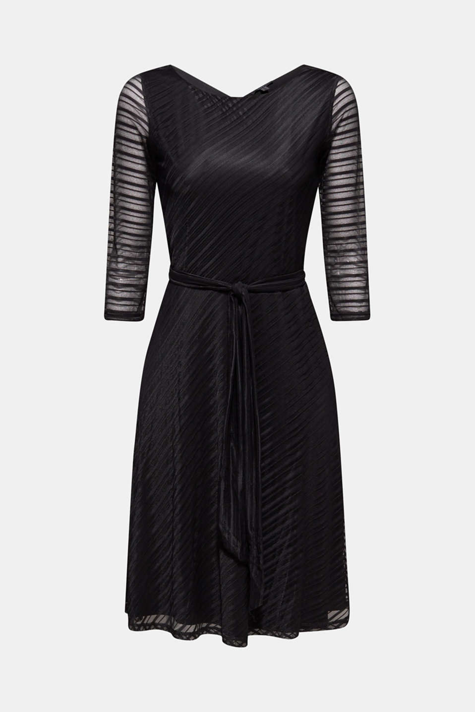 Flared mesh dress with stripes, BLACK, detail image number 7